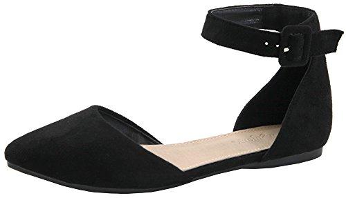 Toe Pointed Strap Flat Women's Adjustable Ankle Lovmark D'orsay Black xpzOqXT