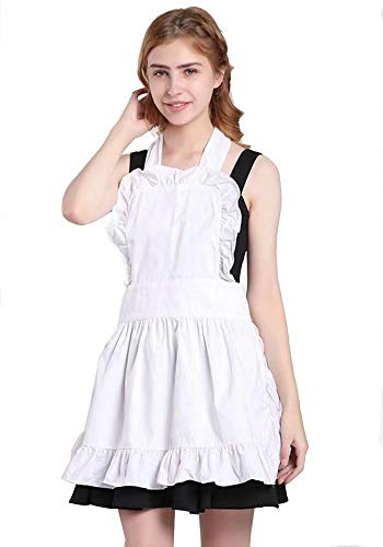 Pavel Korchagin Fancy Cute Frilly Kitchen Apron 100% Cotton Flirty Women Ladies Waitress Vintage Maid Costume Adjustable for Work Cafe Baking Cooking Home Shop Salon Florist for Gift (White) -