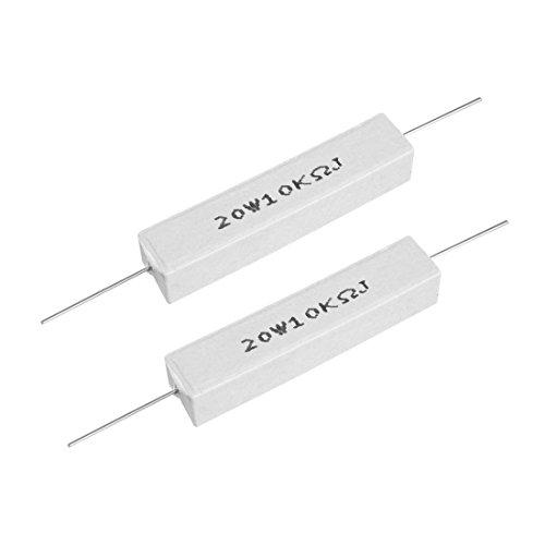 uxcell 20W 10k Ohm Power Resistor Ceramic Cement Resistor Axial Lead White - Power Ohm Watt 20 Resistor