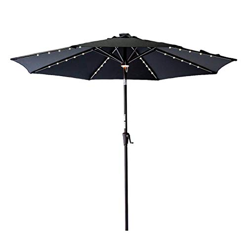 C-Hopetree 10 Foot Patio Garden Umbrella Solar LED Lighting Crank Winder Push Button Tilt Black