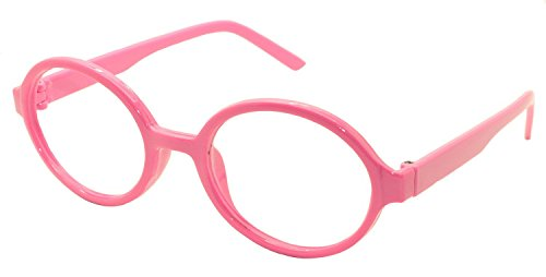 [FancyG Retro Geek Nerd Oval Round Shape Glass Frame NO LENSES - Pink] (Costumes For Teachers)