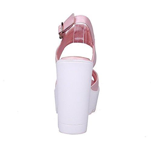 AgooLar® femmes Sandales ouvert MD à bout plates en pour Rose PU rzxqrwX54