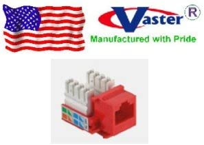 RED Category 5e Punch Down 110 Type Keystone Jack SuperEcable 00054-10 Pcs//Pack