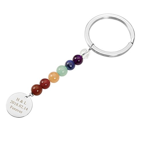 Personalized Master Free Engraving Custom 7 Chakra Lava Stone Gemstone Beads Healing Energy Keychain Keyring for Best Friends Couples Gift by Personalized Master
