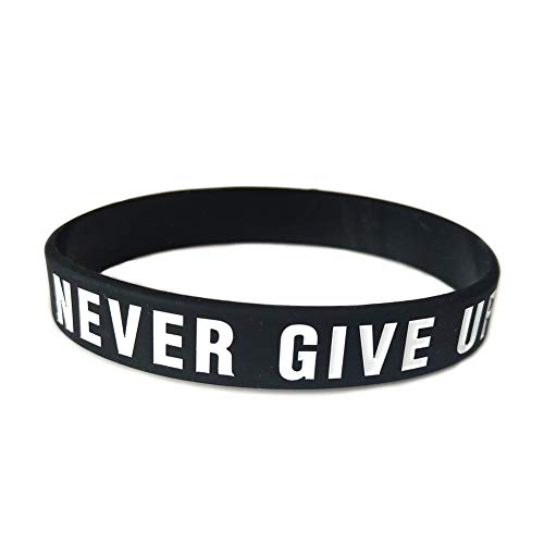 "Price comparison product image JOYID ""Never give up Motivational Silicone Bracelets Rubber Band Wristbands Jewelry Inspirational Bracelets Gifts-Black"