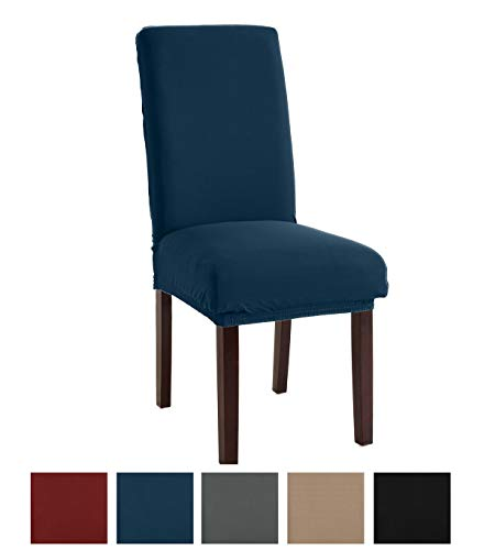 Great Bay Home Stretch Jersey Dining Chair Slipcovers. Protective Covers, Super Fit, Removable and Washable. (Set of 4, Teal)