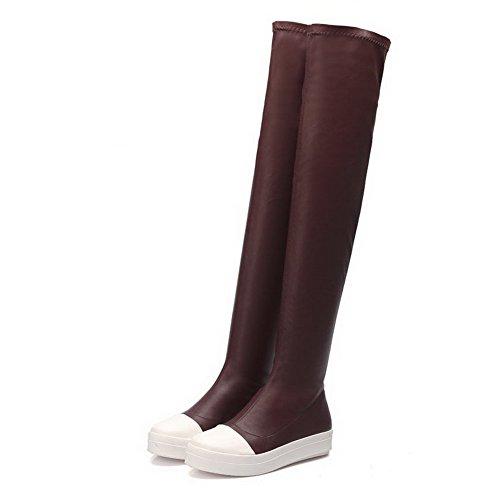 AgooLar Damen Niedriger Absatz Blend-Materialien Oberschenkel Hohe Gemischte Farbe Stiefel, Schwarz, 43