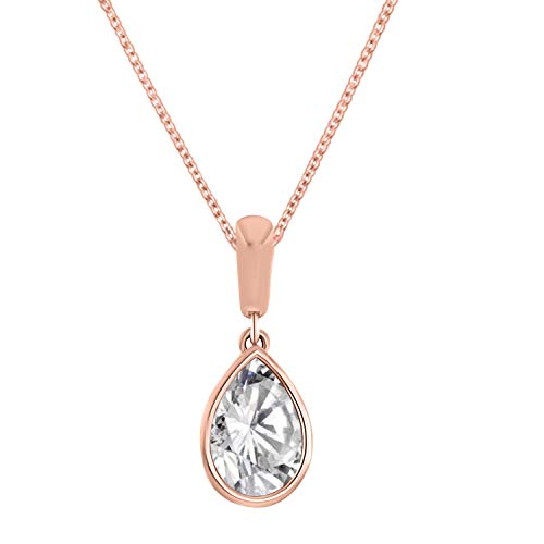 OMEGA JEWELLERY 1.50CT Pear Shape Bezel-Set Solitaire Diamond Pendant(Without Chain) in 14K Solid Gold (Rose-Gold)
