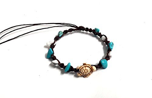 Turtle Mix Stone Blue Turquoise Color Bead Anklet or Bracelet Handmade for Women Teens and Girls