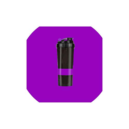 Water Bottle Fitness Exercise Shake Cup Protein Powder Mixing Sports Bottle Three-Layer Multi-Function Sealed Leakproof for Outdoor Sports,Purple