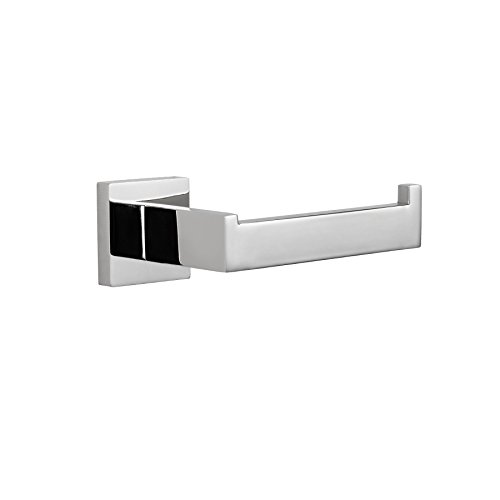 MAYKKE TriBeCa Stainless Steel Toilet Paper Holder | Modern Toilet Tissue Roll Dispenser Storage Wall Mounted for Bathroom Lavatory & Shower | Polished Chrome, KYA1000104 (Polished Steel Tribeca)