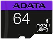 ADATA 64 GB Tarjeta de Memoria Micro SDXC con Adaptador Color Negro con Morado (Clase 10)