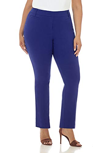 Rekucci Curvy Woman Ease in to Comfort Straight Leg Plus Size Pant w/Tummy Control (20W,Sapphire)