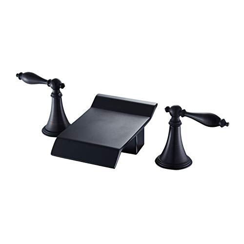 redOOY Taps Bathroom Sink Taps Shower Taps Basin Faucet Copper Black Washbasin Waterfall Three-piece Three-hole Double Handle Mixing Faucet