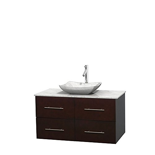 UPC 700161131574, Wyndham Collection Centra 42 inch Single Bathroom Vanity in Espresso, White Carrera Marble Countertop, Avalon White Carrera Marble Sink, and No Mirror