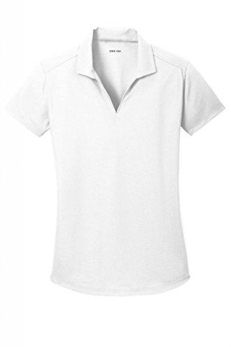 Joe's USA(tm Ladies Moisture Wicking Textured Golf Polos in 12 Colors White ()