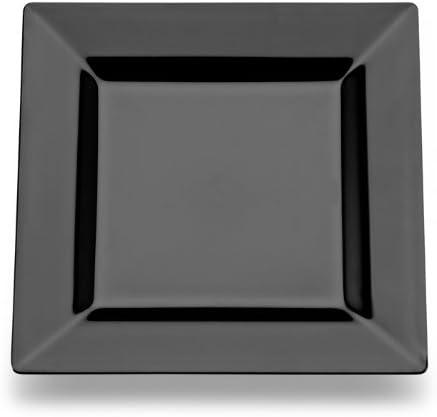 Square Plastic Dessert Salad Plates Black 6.5 Inch 120ct Elegant Wedding Plate by Yoshi