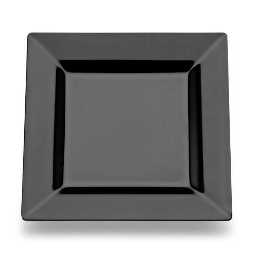 (Square Plastic Dessert / Salad Plates Black 6.5 Inch 120ct Elegant Wedding Plate by Yoshi)