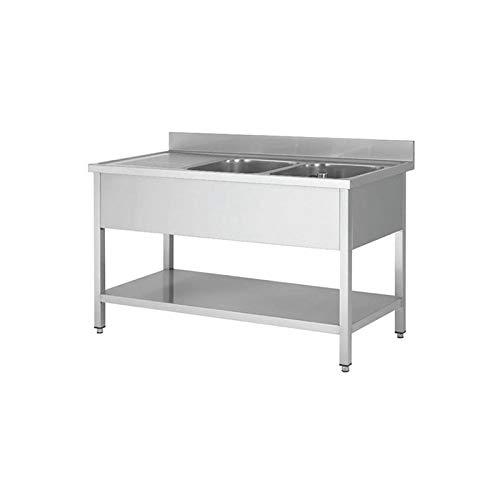 HB MATOS- Sopla profesional de acero inoxidable (160 x 60 cm) – Mesa de buceo profesional – Mueble bajo fregadero – Fregadero profesional de acero inoxid