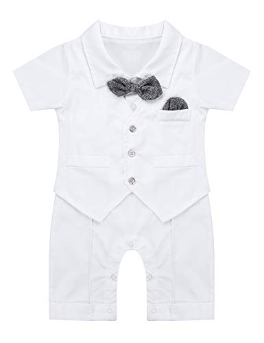 MSemis Infant Baby Boys Gentleman Formal White Shirt Waistcoat Bowtie Tuxedo Overall Romper Jumpsuit White 3-6 Months