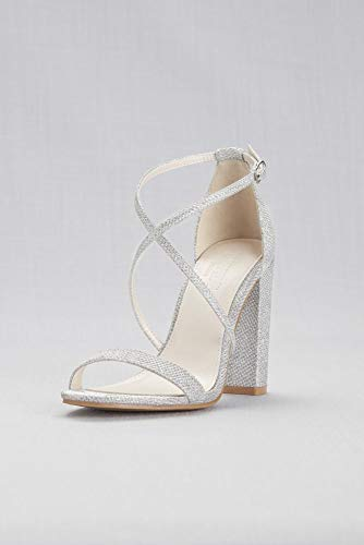 David's Bridal Crisscross Strap Block Heel Sandals Style Frenzy, Silver Metallic, - Heel Shoes Wedding Dyeable Flats