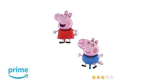 TOYLAND Paquete de 2 - 37 Pulgadas de tamaño Gigante Jumbo Peppa Pig y George Pig Personaje Foil Balloon - Globos de Fiesta