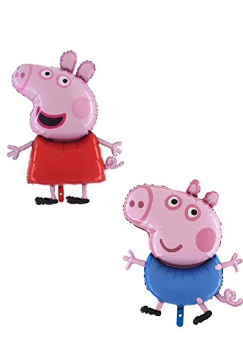 Toyland Pack of 2 - 37 Inch Giant Jumbo Size Peppa Pig & George Pig Character Foil Balloon - Party -