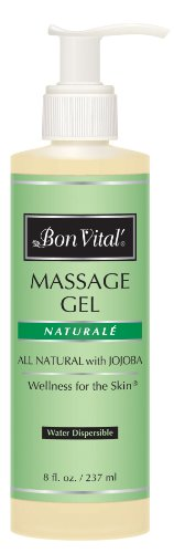 Bon Vital' Naturale Massage Gel Made with Natural Ingredients for Earth-Friendly & Relaxing Massage, Hypoallergenic Massage Gel for Sensitive Skin, Moisturizer Absorbs Like Lotion, 8 Ounce Bottle (Lotion Naturale Bon Vital Massage)