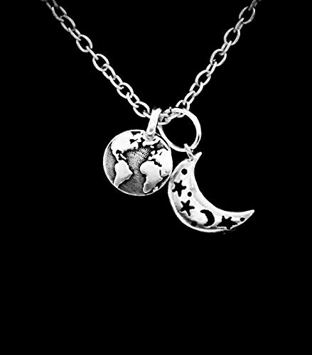 Earth Necklace Crescent Moon Celestial Globe Map Atlas Galaxy Planet Jewelry CY-1762 from Tetrox