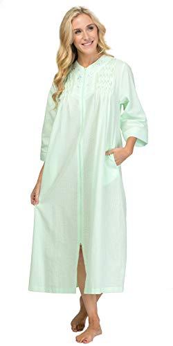 Miss Elaine Long Seersucker Robe - Smocked Zip Front in Mint Green (Mint Green, Small)