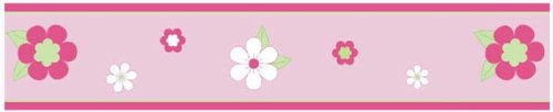 Sweet Jojo Designs Pink and Green Flower Baby and Childrens Wall Border - Pink Flower Border