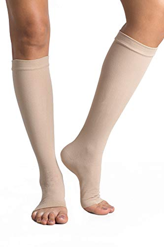 +MD Knee High Compression Socks 23-32mmHg Open-Toe Medical Support Stockings for Swelling, Varicose Veins, Edema, Spider Veins NudeL