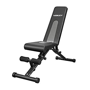 VIGBODY Adjustable Weight Bench , Utility Foldable Sit Up Bench Decline/Incline/Flat Bench for Home Gym Full Body workout
