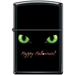 Happy Halloween Cat with Green Eyes Zippo Lighter - Black Matte