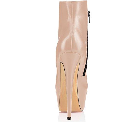 EDEFS Damen Stiefel mit Absatz,Schwarz Kurzschaft Stiefel,Reißverschluss Stiefeletten für Damen,Plateau Stiefel Beige