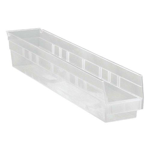 Quantum Storage Shelf Bin - 23 5/8in. x 4 1/8in. x 4in., Clear, Carton of 16, Model# QSB105CL