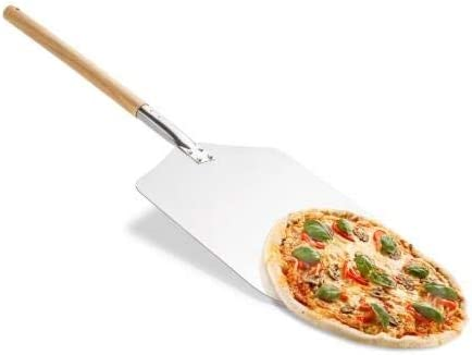 Kyang kitchen Supply 3size Aluminum Pizza Peel with Wood Handle for Great Gift for Homemade Pizza Lovers 9rich: 23x 28 x 58cm 570g