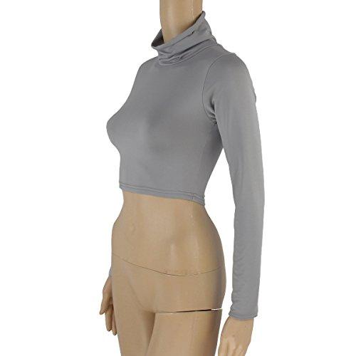 LvRao T Collo Manica Primavera Shirts Basic Camicia Crop Tops lunga Grigio Camicetta Blouse Shirt Donna alto Autunno HRSPrqAH