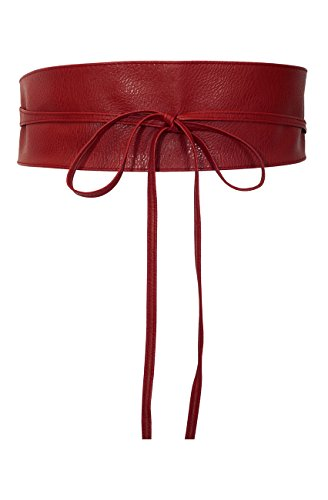 eVogues Plus size Faux Leather Obi Waistband Sash Belt Red - One Size Plus Faux Leather Sash Belt