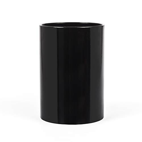 Black Lacquer Finish - Calvin Klein Home Marcel, Waste Basket, Black