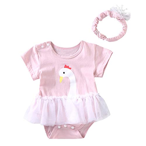 Baby Girl Romper-Waymine Infant Short Sleeve Swan Flower Print Tulle Jumpsuit+Headband Set Hot Pink
