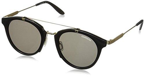 Carrera Men's Ca126s Round Sunglasses, Shiny Black Gold/Brown Gray, 49 - Carrera Black Gold Sunglasses And