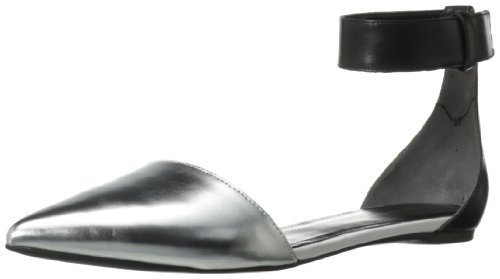 Enzo Angiolini Women's Chadler Ballet Flat,Black/Silver Leather,6.5 M US