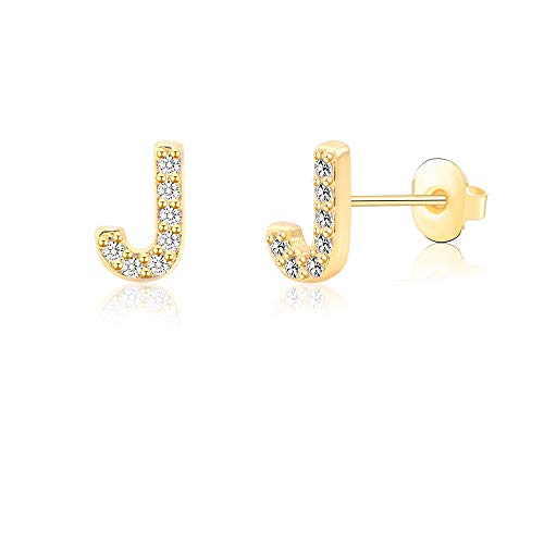 J Alphabet Stud Earrings for Sensitive Ears Gold Initial Letter Earrings for Girls Women Hypoallergenic Nickel Free Stainless Steel Personalized Monogram Jewelry Bridesmaid - Ring Initials Gold