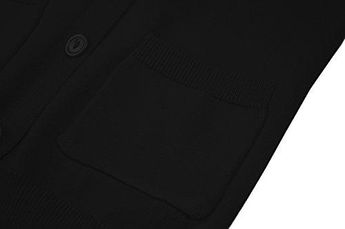 RJXDLT Girls Cardigan Knit Sweaters Long Sleeve Button Cotton Sweater 9-10Y Black by RJXDLT (Image #5)