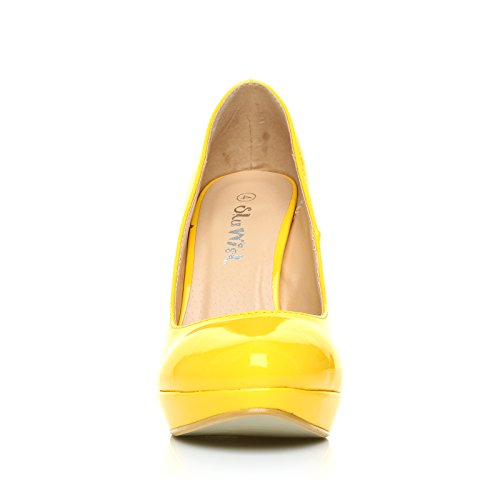 EVE Yellow Patent PU Leather Stiletto High Heel Platform Court Shoes CSt0OMk