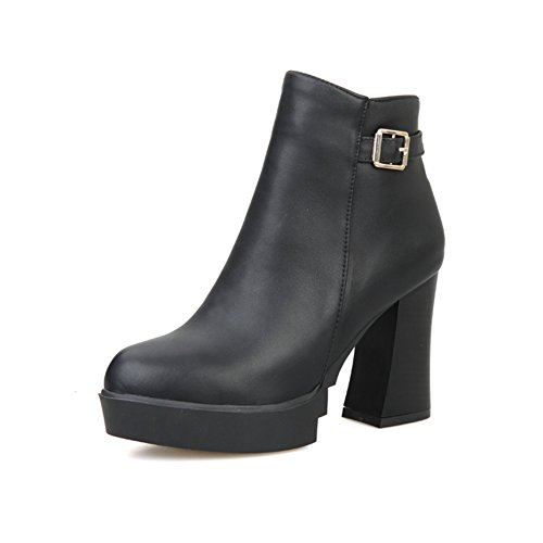 Black Boots Leather A Girls amp;N Outdoor Imitated Wheeled Zipper Heel Shoes vvzq8r