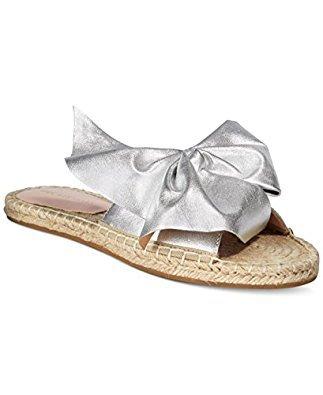 Avec Les Filles by Joyce Azria Gemma Espadrille Bow Slide (Silver) Size 7.5