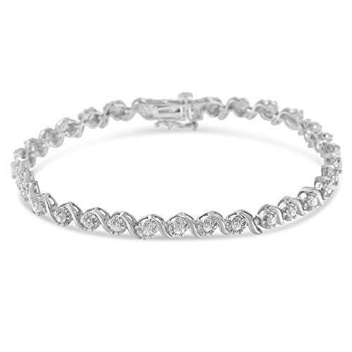 Sterling Silver Rose-cut Diamond Spiral Link Bracelet (1.00 cttw, I-J Color, I3 Clarity)