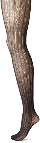 Hanes Silk Reflections Women's Plus Size Hanes Curves Fashion Rib Net Tights, black ()